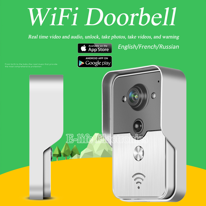 WiFi Wireless Video Door Phone intercom peephole Camera Remote Unlock IR Night Vision Alarm Android IOS smart home d114b smart home 1v2 wireless intercom one to two video door phone 2 4g digital pir detection video door peephole camera