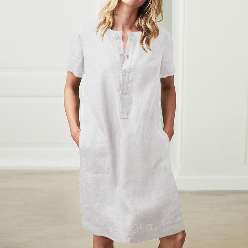 Summer Linen Dress 19 Celmia Women Tunic Top Short Sleeve Shirt Button Female Vintage Casual Sundress Sarafans Vestidos S-5XL 5