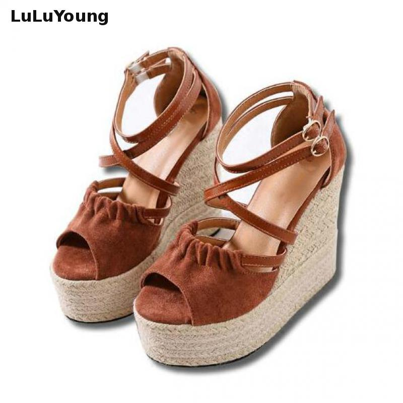 2018 Summer High Heel Sandals Sexy Straw Peep Toe Platform Wedges Shoes For Women big size 34 43 new women summer ankle boots fashion platform high heel shoes sexy peep toe rhinestone decoration wedges sandals