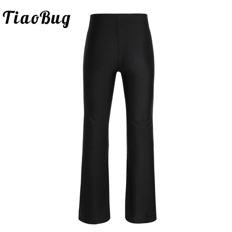 TiaoBug Kids Teens Black Basic Classic Stretchy Loose Gym Sports Pants Dance Wear Girls Child Dance Practice Jazz Dance Costume