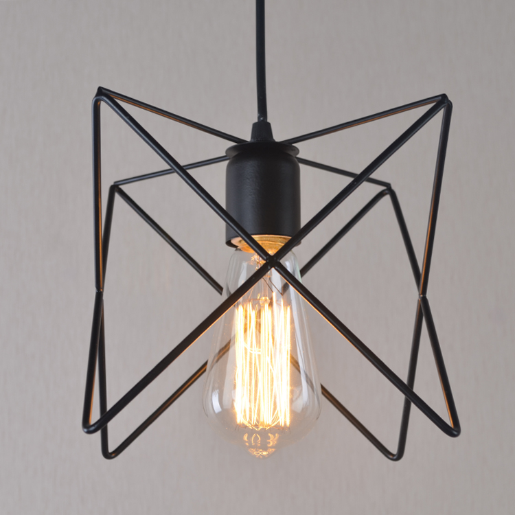 Nordic Edison Star Iron Triangle Shade Chandelier Ceiling