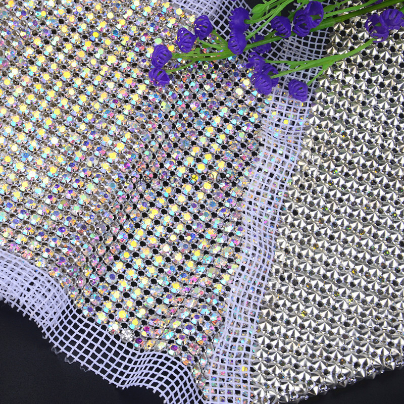 Detail Feedback Questions about 1yards roll Bling bling 24 rows AB color  stone Crystal rhinestone mesh trimming chain Silver base White fabric DIY  sewing ... 239547e0c702