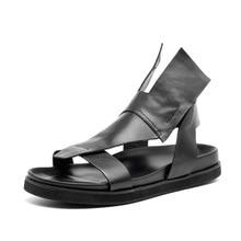 Уникальные Дизайнерские мужские сандалии-гладиаторы на плоской подошве; белые черные тапочки в римском стиле; мужские повседневные сандалии; сандалии без застежки для отдыха