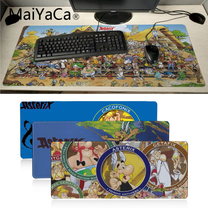 MaiYaCa Asterix Obelix Characters Laptop Gaming Mice Mousepad Large Gaming Mouse Pad Anti-slip Locking Keyboard Pad Desk Mat