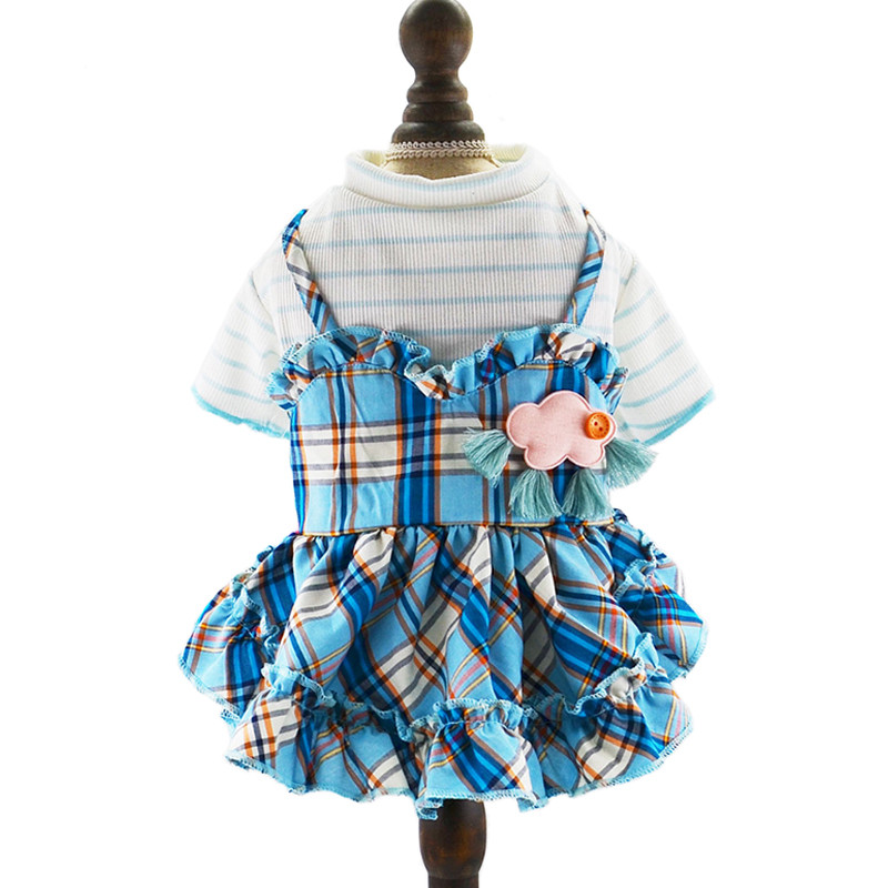 9243800b7 Clothes For Dogs Cat Summer Dress Skirt For Small Dogs York Teddy Chihuahua  Clothing Pet Wedding Dress Plaid Dress Pink Blue
