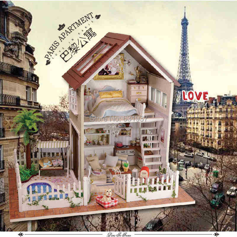 Diy 1/12 3D Wooden Doll House Miniatura Furniture Wood dolls light Dollhouse Miniature House Toy Gifts Houses toys Birthday Gift large size diy wooden miniatura doll house with light music furniture handmade 3d miniature dollhouse toys wedding gits