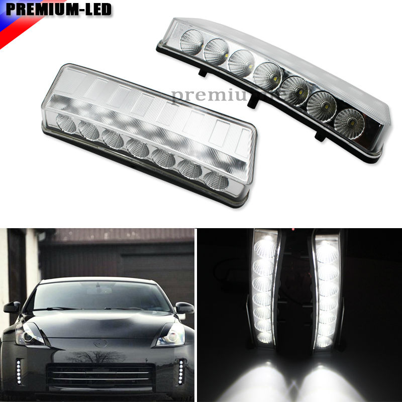Clear Lens Direct Fit High Power 7-LED Front Bumper Reflector LED Daytime Running Lights For 2003-2005 Pre-LCI Nissan 350Z only direct fit for nissan 350z pre lci led daytime running lights 7 led xenon white drl driving fog lamps daylights car styling