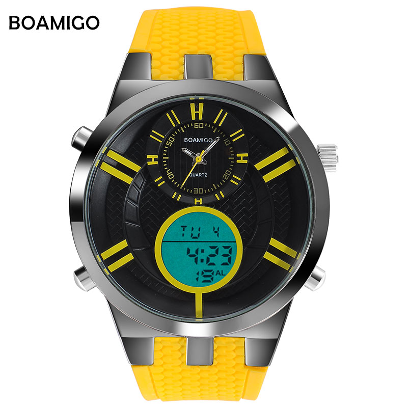 BOAMIGO Men Sports Watches Digital Watch Male Military Quartz Watches Yellow Rubber Colorful Gift Wristwatch Reloj HombreBOAMIGO Men Sports Watches Digital Watch Male Military Quartz Watches Yellow Rubber Colorful Gift Wristwatch Reloj Hombre