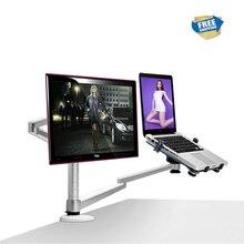 משלוח חינם מולטימדיה שולחן עבודה כפולה זרוע עבור 25 אינץ LCD Monior מחזיק + מחשב נייד מחזיק מעמד מלא תנועה כפולה צג זרוע OA 7X