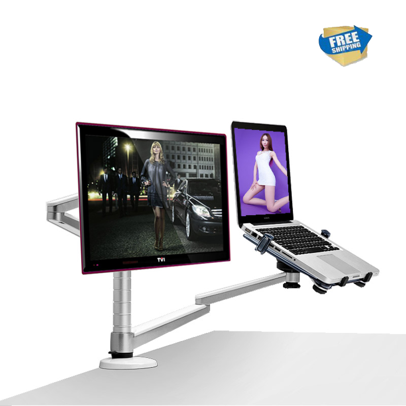 free shipping Multimedia Desktop Dual Arm for 25inch LCD Monior Holder+ Laptop Holder Stand Full Motion Dual Monitor Arm OA-7X free shipping oa 4s aluminum alloy desktop double arm dual monitor holder full motion led screen mount arm rotary base stand