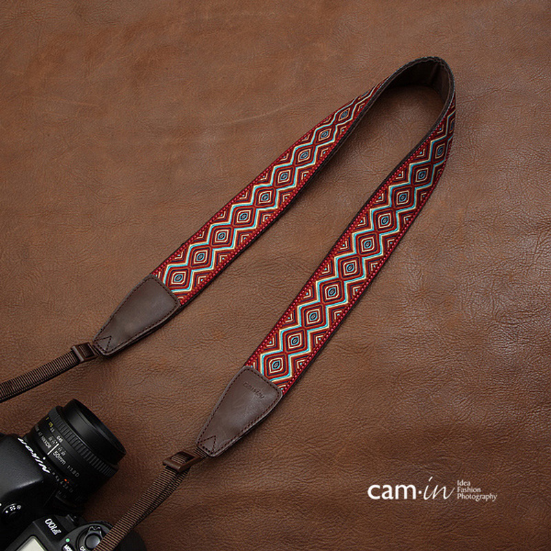 Cami in Embroidery Webbing Cow Leather Camera Shoulder Neck Strap Universal Carrying Belt Adjustable for Canon Nikon Sony Pentax in Camera Strap from Consumer Electronics