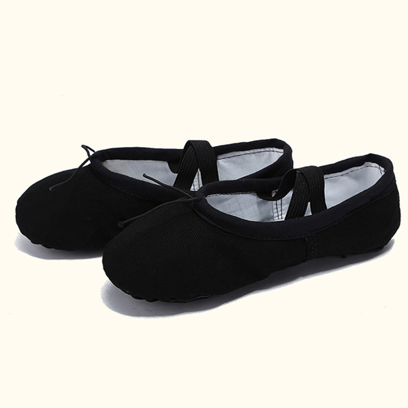 USHINE EU22-45 Cloth Head Yoga Slippers Teacher Gym Indoor Exercise Canvas Black Ballet Dance Shoes For Kids Girls Woman