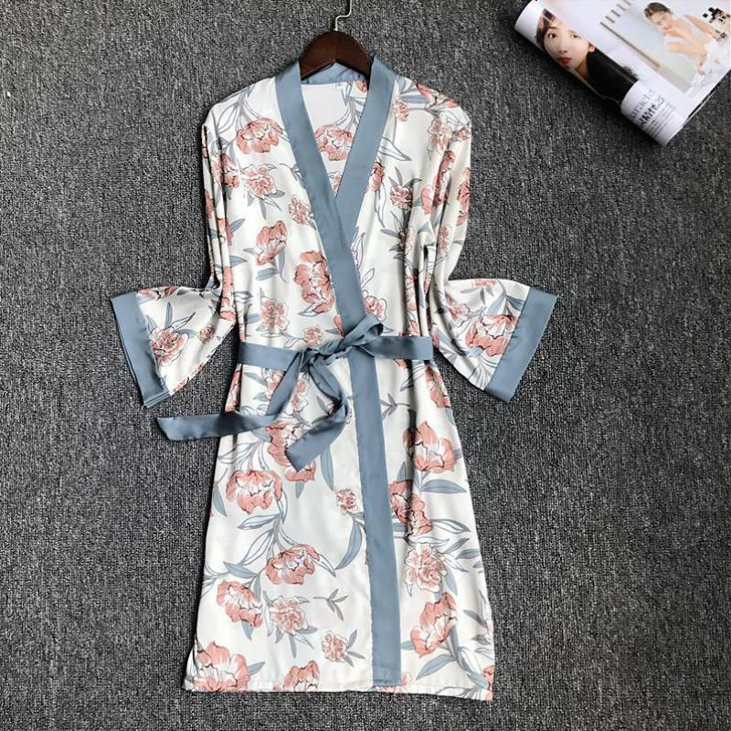 Summer New Female Print Bride Bridesmaid Wedding Robe Silky Nightdress Home Dressing Gown Sexy Sleepwear  M-XL