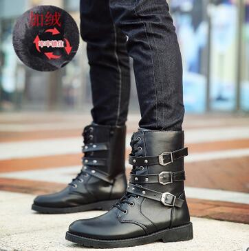 2018 New boots winter mens Martin boots high tube casual plus velvet long boots fashion  ...