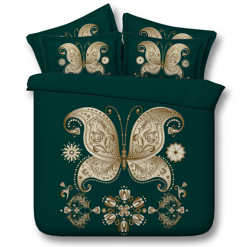 Butterfly 3D Printed Comforter Bedding Twin Full Queen Super Cal King Size Bed Sheets Duvet Covers Sets Adults Home Green Gold