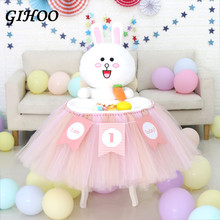 GIHOO 1M Tutu Tulle Table Skirt Baby Shower Decoration for High Chair Home Textile Party Supplies Pink Blue Event Party Supplies