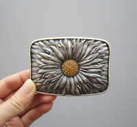 Jeansfriend Original Antique Silver Plated Rhinestones Blooming Daisy Bling Belt Buckle