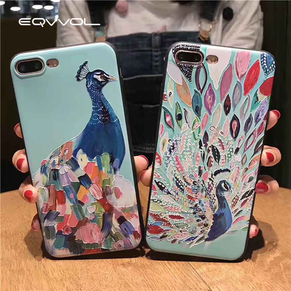 Eqvvol Luxury Phone Case For iPhone X 8 7 6 6s Plus Fasion Peacock Patterned Soft TPU Cases For iPhone 10 5 5s SE Embossed Shell