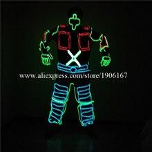 Холодного светодиодные растет мигает Костюмы EL Провода танцевальный костюм робот костюм с маской сценическое шоу партии Одежда для танцев