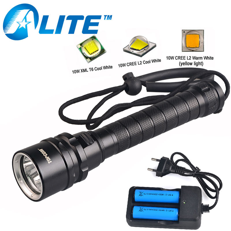 Professional Diver Lamp 100M Underwater 6000LM CREE XM-L2 XML T6 LED White Yellow Light Scuba Diving Flashlight Torch