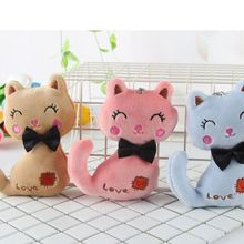 3 Colors Little Size NEW Cat Plush Animal Stuffed Kitty Key Chain Ring Kids Party Toy Bouquet Dolls Gift
