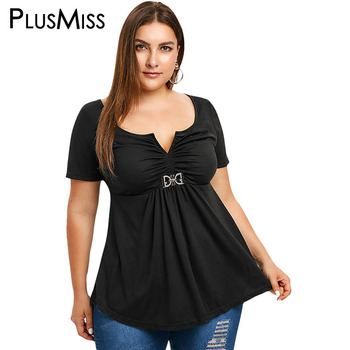 a1fdcd2b03f9 PlusMiss talla grande XXXL Vintage blusa de cintura fruncida ropa de mujer  talla grande negro manga corta túnica Tops verano XXXXL XXXL XXL