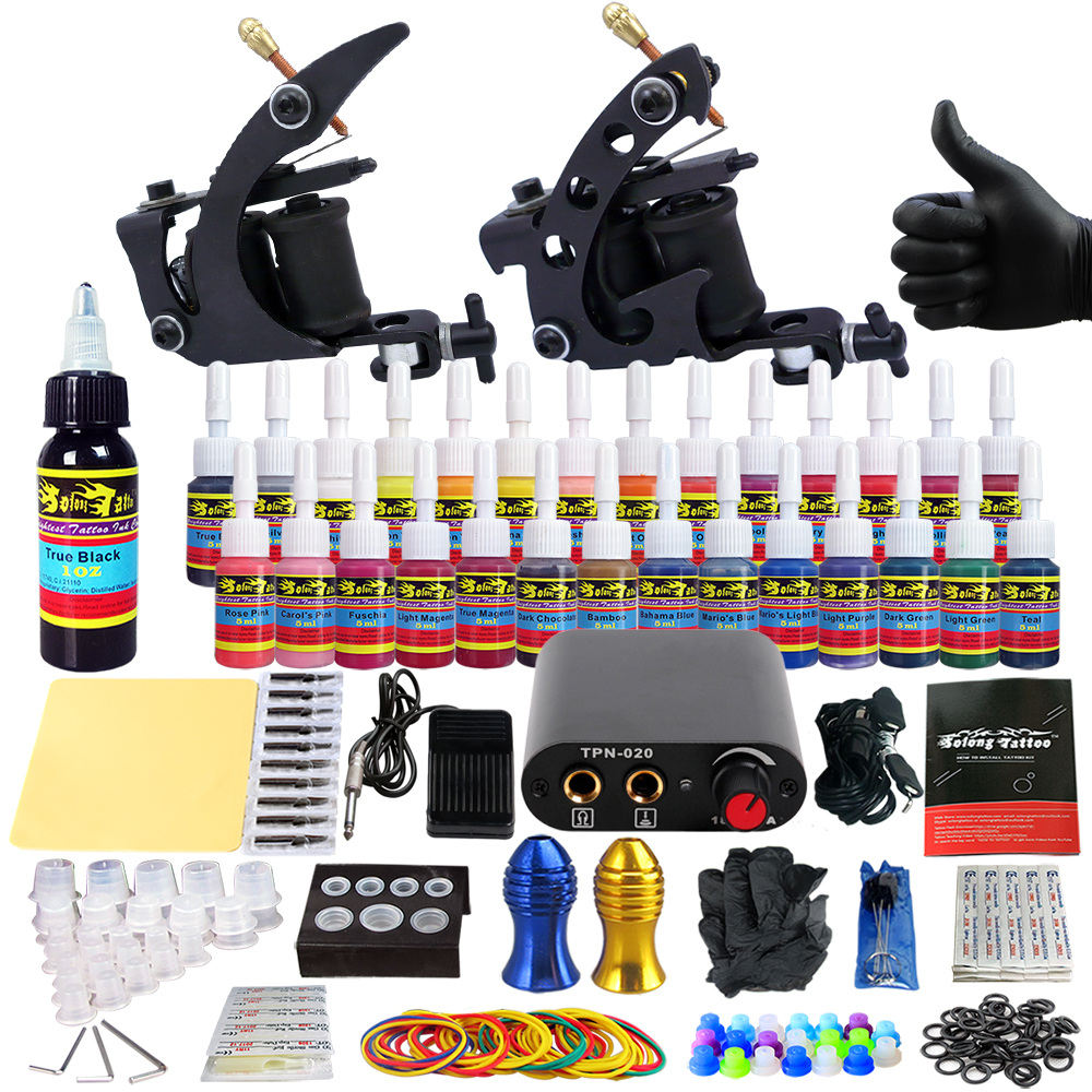 Solong Tattoo complete professional 2 tattoo Machine Guns set Tattoo Kit 28 Inks Needle Grips power supply TK204-1 europe god of darkness robert recommend gp self lock grips gp3 professional tattoo artist grip