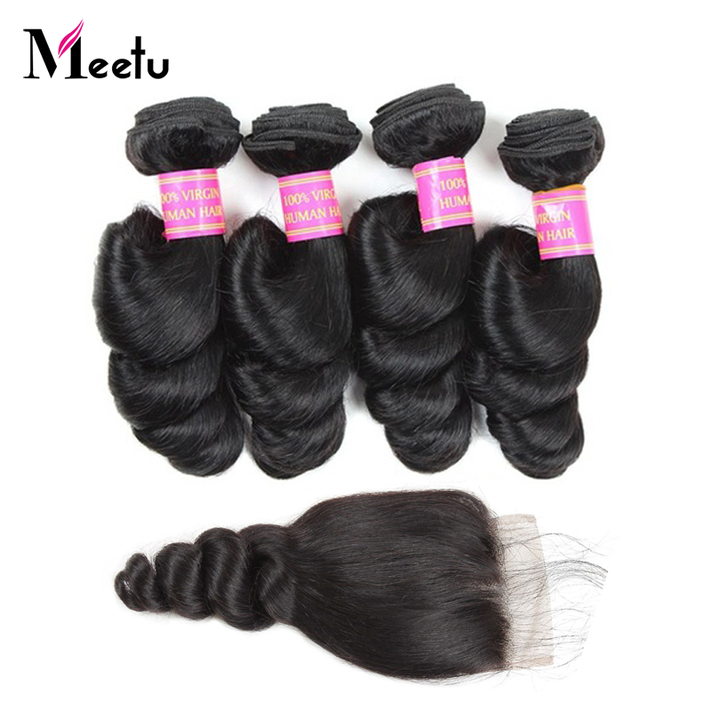 Meetu Hair Raw Indian Loose Wave Bundles With Lace Closure Non Remy Human Hair Extensions 4 Bundles With Closure With Baby Hair