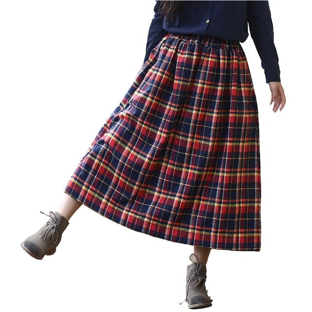 Frauen Plaid Rock Mori Hohe Qualität 100% Baumwolle Lange Tartan Rock  Elastische Taille Langen Rock a9d742316c