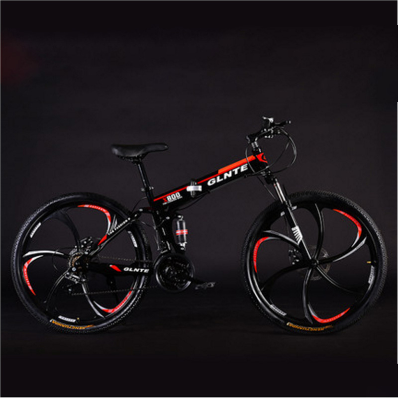 Folding Mountain Bike 26 Inches 21 Speeds 24 Speeds 27 Speeds Six-Knife Wheel Double Disc Brake Adult Cross Country