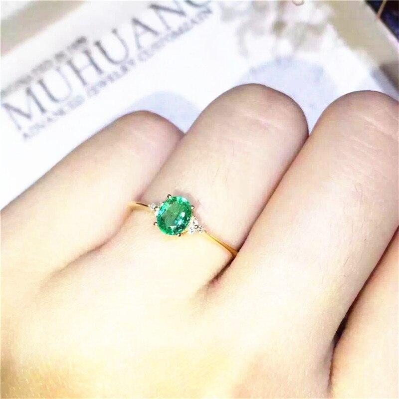 Émeraude anneau Livraison gratuite 925 sterling argent Naturel réel émeraude Fine vert gem bijoux 4*6mm