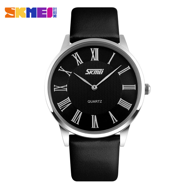 SKMEI Brand Women And Men Fashion Ultrathin Quartz Watches Leather Strap Casual Lovers' Dress Watch Luxury Wristwatches New 2017 2017 new brand skmei men fashion quartz watch casual business date watches leather waterproof dress wristwatches