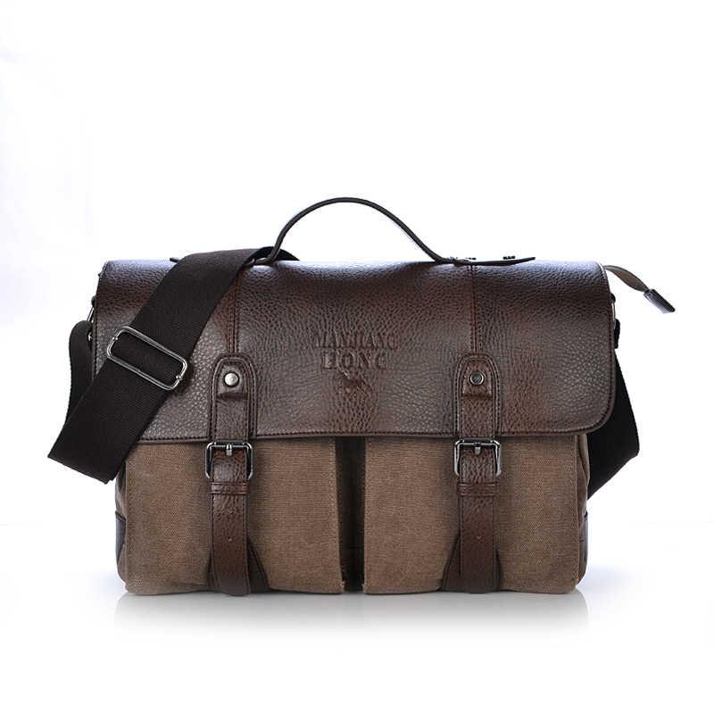 4de565b3a3 ... MANJIANGHONG Men s Canvas vintage Casual Briefcase man Business Shoulder  Messenger Bag men Laptop Handbag male Messenger ...