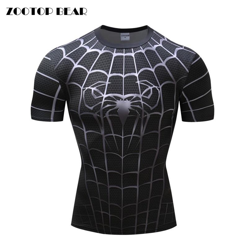 Spiderman 3D Print T Shirts Men Compression Fitness Shirts Superhero Tops Costume Short Sleeve Fitness T-shirts