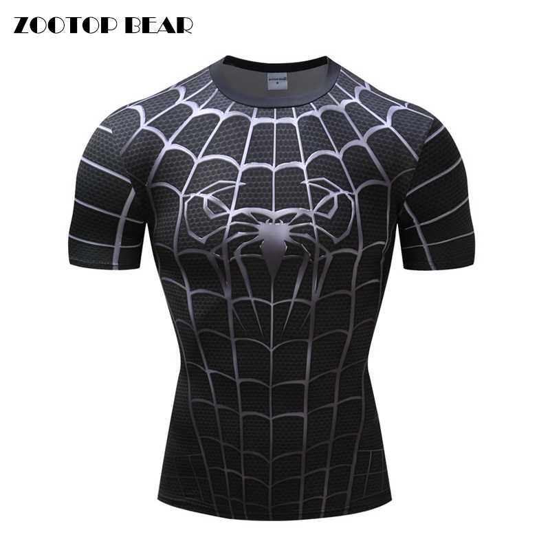 Spiderman 3D Print t shirts Men Compression fitness shirts Superhero Tops costume Short Sleeve Fitness Crossfit T-shirts