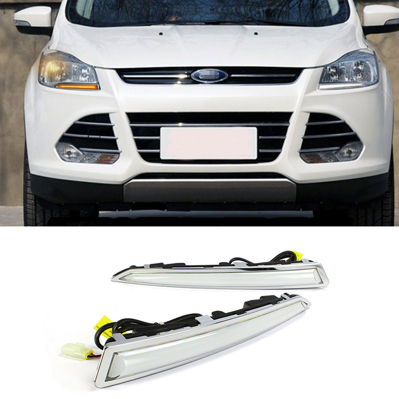 Turn Signal Light and Turn Off Relay 12V GUIDE LED CAR DRL Daytime Running Light Accessories For FORD Kuga Escape 2013 2014 2015 car styling led headlight brow eyebrow daytime running light drl with yellow turn signal light for ford escape kuga 2013 2016