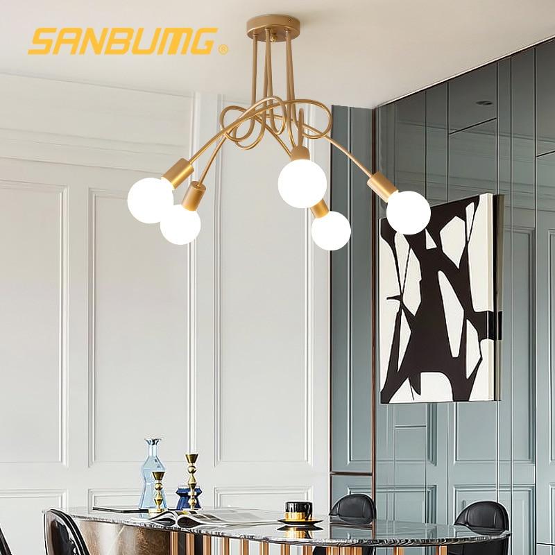 SANBUGM الشمال الحديثة الإبداعية منحنى الثريات الحديد المطاوع مطلية بالذهب مصابيح تعليق للزينة مطعم غرفة المعيشة