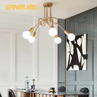 SANBUGM Nordic Modern Creative Curve Chandeliers Wrought Iron Gold Plated Hanging Lights for Restaurant Living Room