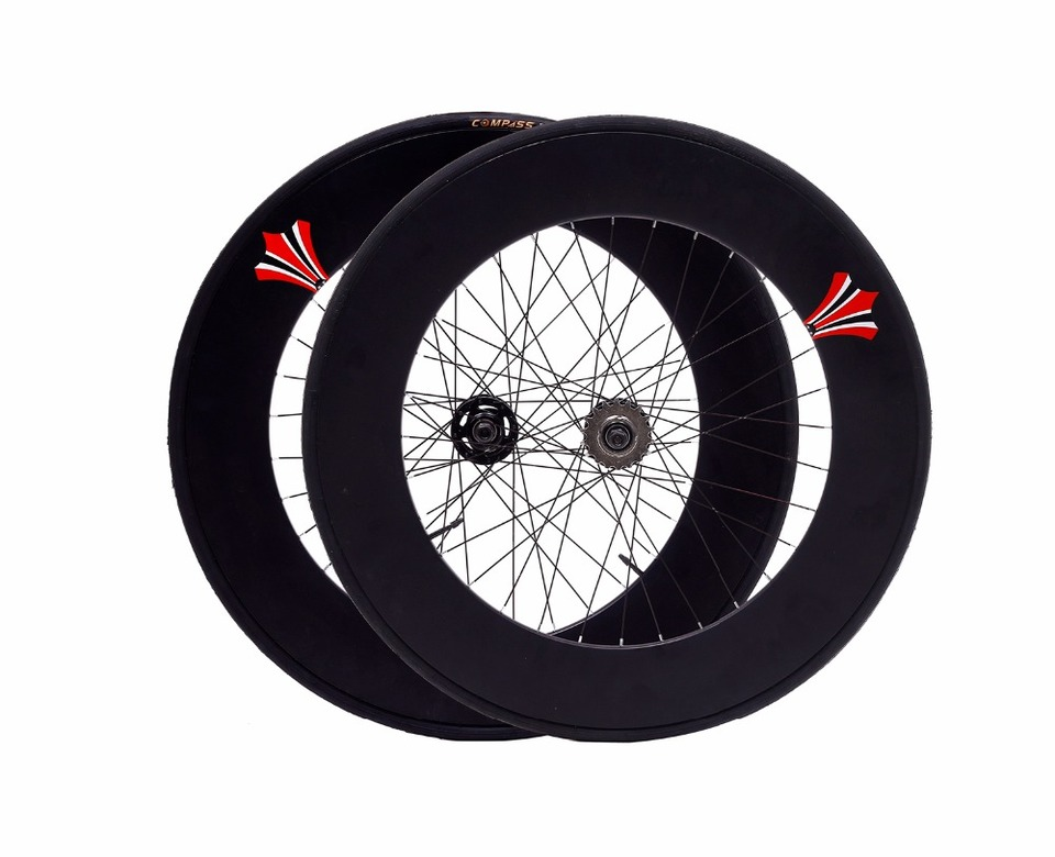 700c Fixie Single Speed Rear Wheel Flip Flop White Rim and White Tyre 70mm DeepV
