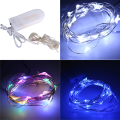 2M 20LEDS Fairy Lights 20 Micro Starry Light CR2032 Button Battery Operated Silver String for Christmas Wedding Decorations