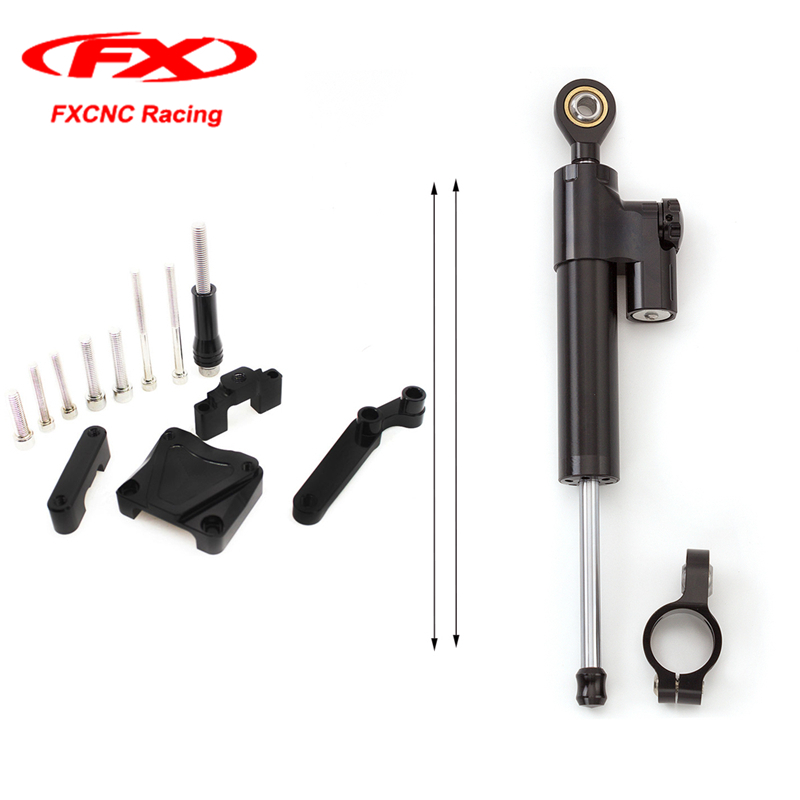 FXCNC Aluminum Steering Damper Stabilizer Mounting Safety Control + Brackets kit for Kawasaki EX300 NINJA300 2013-2016 2014 2015