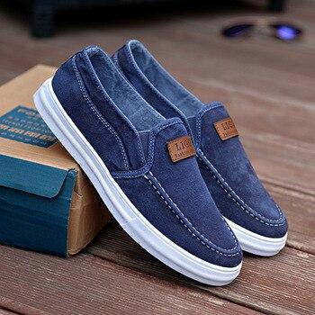 Zapatos informales sin cordones para hombre, mocasines de lona, color azul, para...