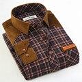 2017 hombres camisa a cuadros marca de moda de negocios 15 camisa larga de color delgado no grid iron man clothing plus tamaño 7