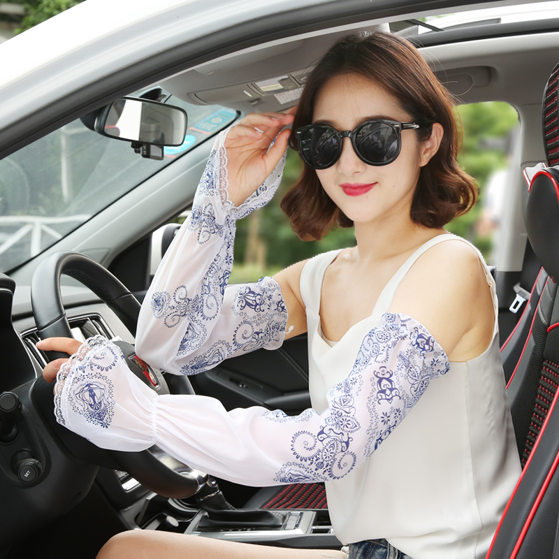 Sunscreen Arm Sleeve Gloves Female Summer Ultraviolet Protection Driving Cycling Thin Long Mittens Women Chiffon Arm Wear H3123