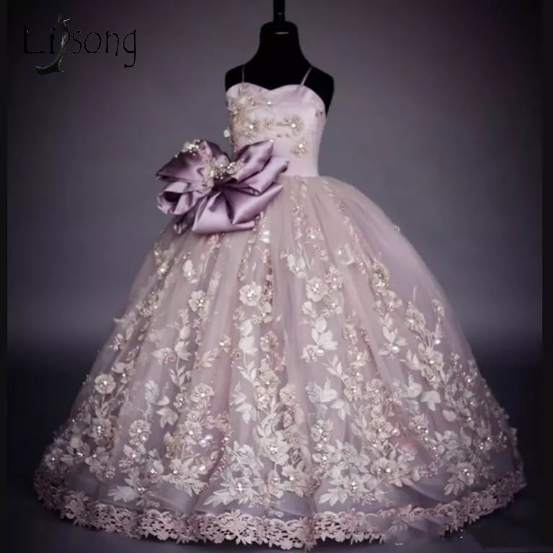 Pretty Crytsal Kids Communion   Dresses   Appliques Big Cute Bow Pageant   Dresses   For   Girls   Long Ball Gowns Lace   Flower     Girl     Dress