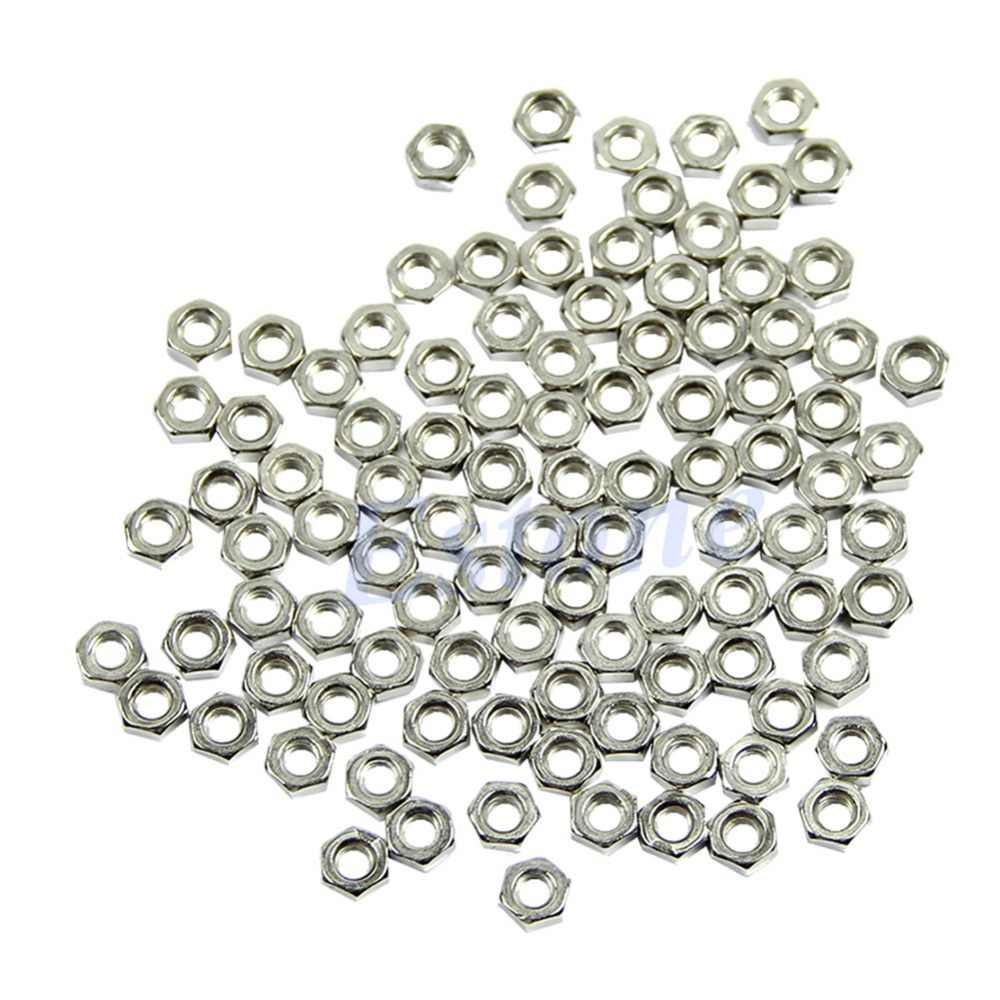OOTDTY 100pcs Brand New and High Quality Silver M3 Dia 3mm Carbon Steel Hex Screw Nut Nuts Good Quality DIY