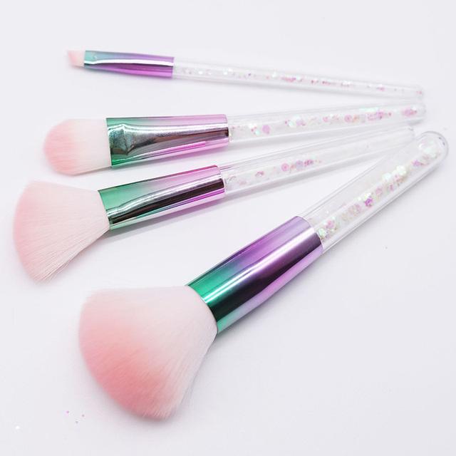 New 4pcs White Gold Diamond Unicorn Crystal Handle Makeup Brushes Set Shinny Foundation Blending Eye Face Brush maquillaje