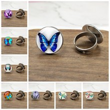 20mm New Beautiful Purple Butterfly Ring Art Picture Glass Cabochon Dome Silver Plated Ring For Women Creative(China)