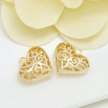4PCS 18x16MM 24K Champagne Gold Color Plated Brass Heart Charms Pendants High Quality Diy Jewelry Accessories