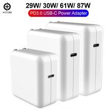 TYPE-C USB-C Зарядка адаптер питания 29 Вт 30 Вт 61 Вт 87 Вт QC3.0 PD зарядное устройство для нового MacBook Pro/Air, Macbook iPhone/iPad Pro и т. д.